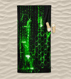Digital Rain Beach Towel