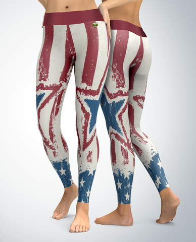 USA Patriotic Weathered Star Leggings