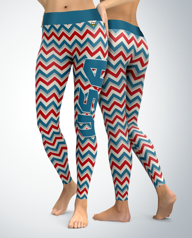 USA Patriotic 3D Chevron Leggings