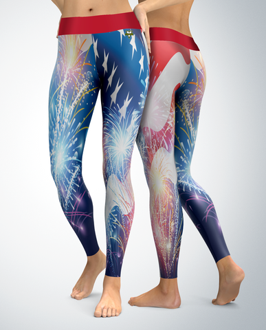 USA Patriotic Fireworks Leggings