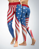USA Patriotic Stars and Stripes Leggings (faded look)