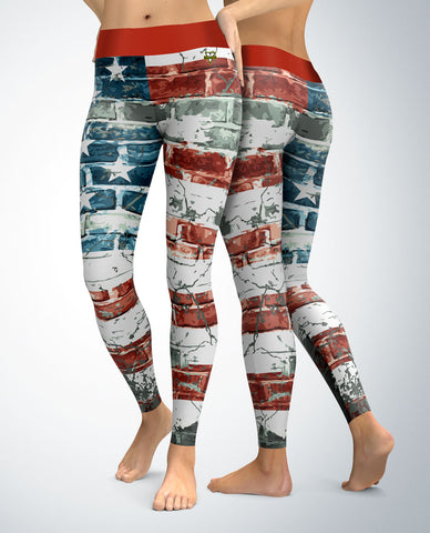 USA Patriotic Brick Pattern Leggings