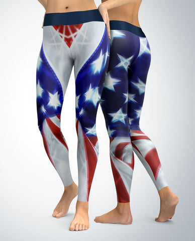 USA Patriotic Chrome Look Leggings