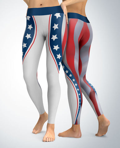 USA Patriotic Stars and Stripes Leggings (grey stripes)