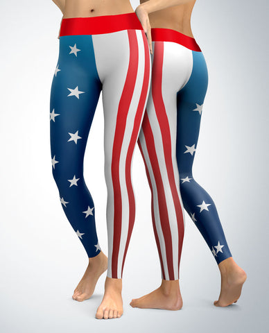 USA Patriotic Half and Half Leggings