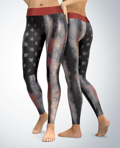 USA Patriotic Distressed Leggings