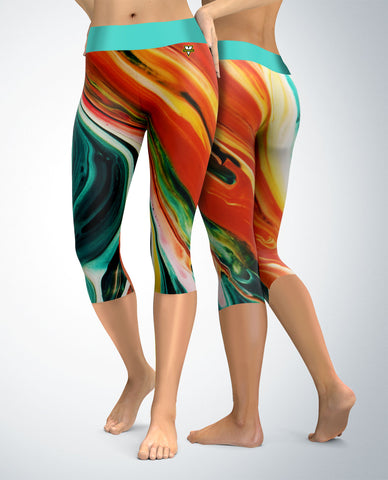 Abstract Capris (teal/orange tones)