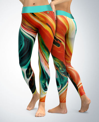 Abstract Leggings (teal/orange tones)