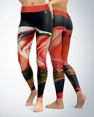 Abstract Leggings (red/orange tones)