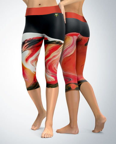 Abstract Capris (teal/red/orange tones)