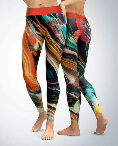 Abstract Leggings (teal/red/orange tones)