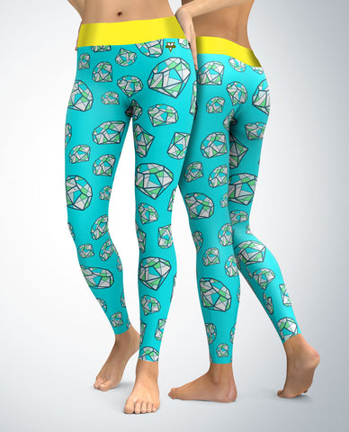 Diamond Exquisite Leggings (Turquoise)