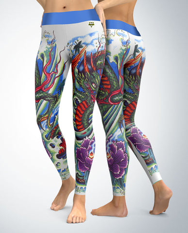 Water Dragon Leggings (tattoo inspired art)
