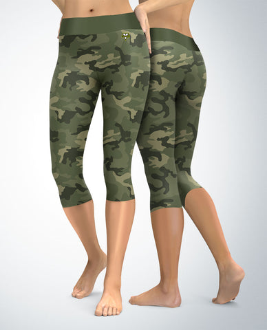 Military Green Camouflage Capris