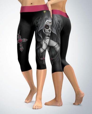 Sugar Skull Angel Capris