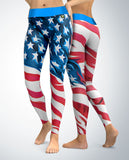 USA Patriotic Stars and Stripes Leggings