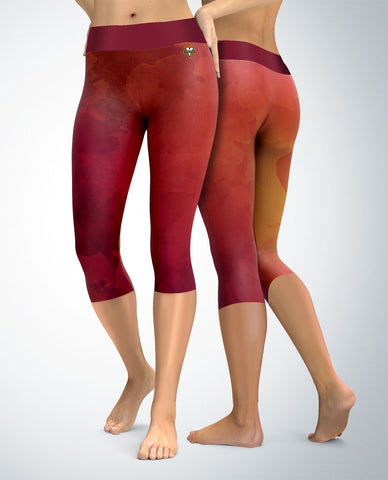 Watercolor Palette Capris (red/pink)