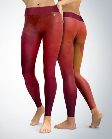 Watercolor Palette Leggings (red/pink)