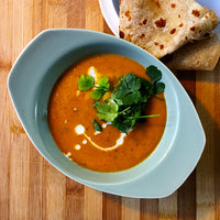 (Somewhat) Thai Carrot & Coconut Soup with Roti