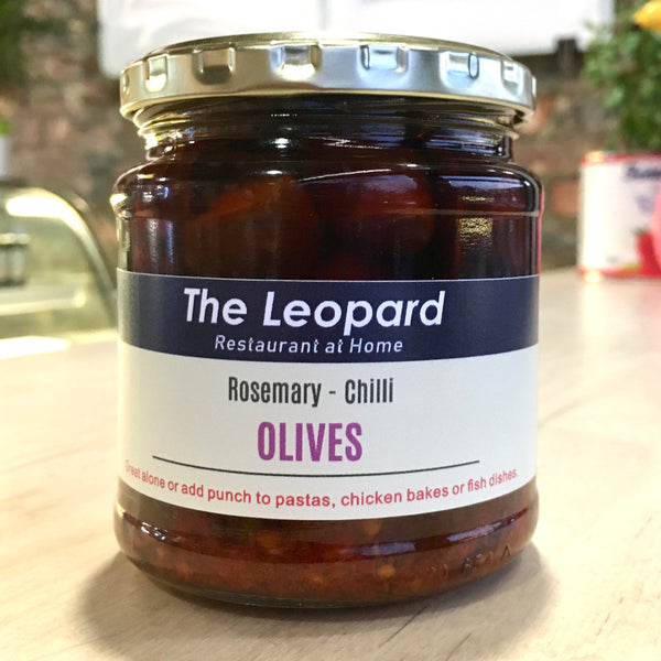 Leopard Rosemary Chilli Olives in Oil (250ml)