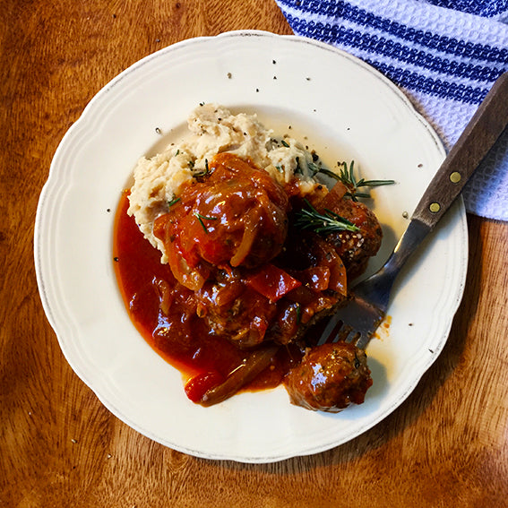 Italian Style Beef Meatballs in Red-Repper Tomato Muddle with Rosemary Butter-Bean Mash