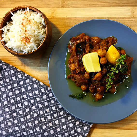 Chickpea & Aubergine Moroccan Style Stew with Herby Couscous
