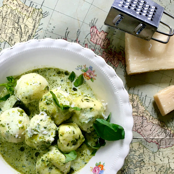 Ricotta Gnocchi with Pesto Cream