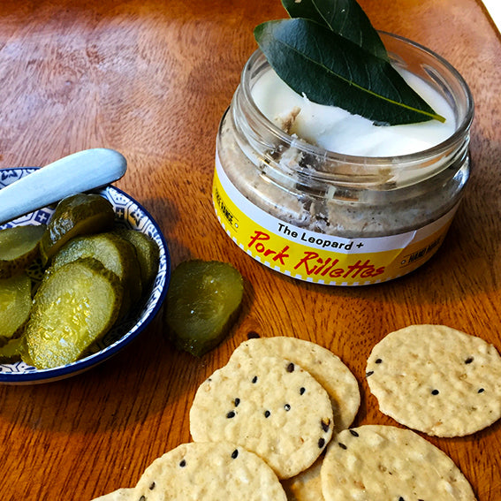 Free-range Pork Rillettes with Pickles and Rice Crackers