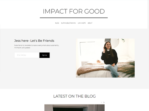 Impact for Good Home page featuring a picture of Jess and email signup.