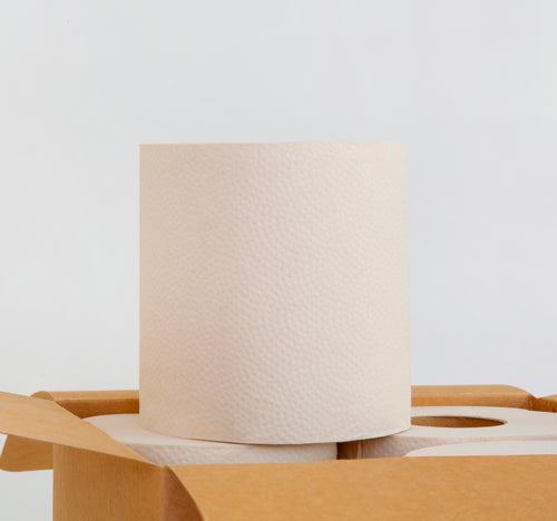 One roll of bamboo toilet paper on top of a box of toilet paper