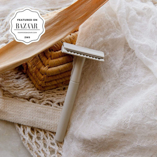 Grey safety razor from Upcircle Beauty. Sticker reads: Featured on BAZAAR