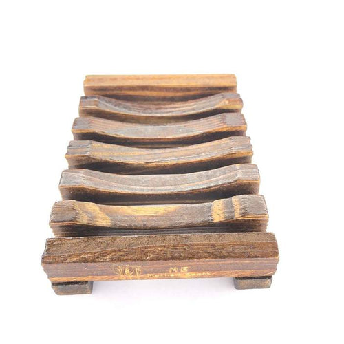 Stained bamboo slated soap dish