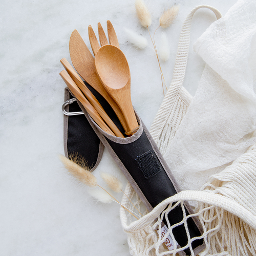 Bamboo fork, knife, spoon, and chopstick set in a black sleeve.