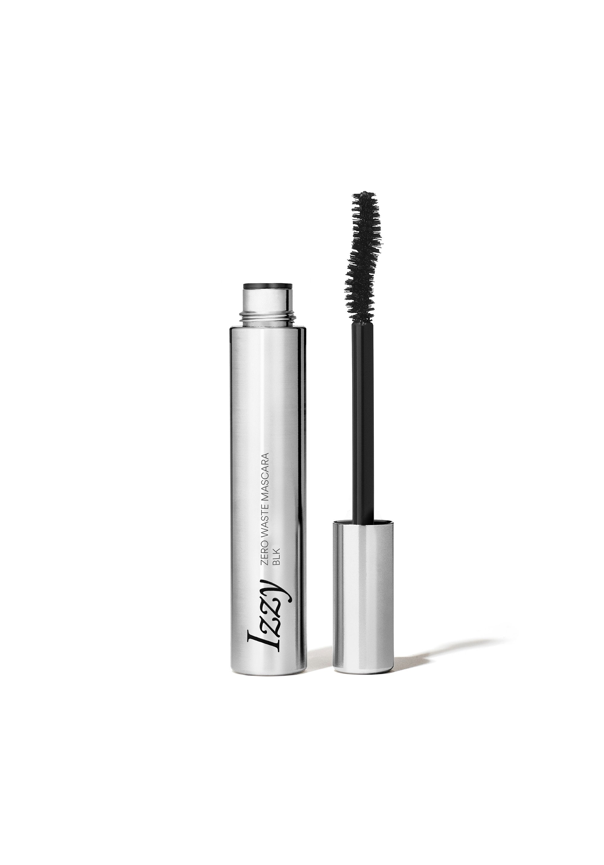 Stainless Steel mascara upright tube and upside down wand side by side. Tube reads: Izzy: Zero Waste Mascara BLK