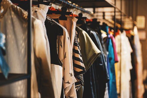 Rack of clothing inside a store