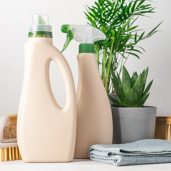 Bottled cleaning products marketed as eco-friendly