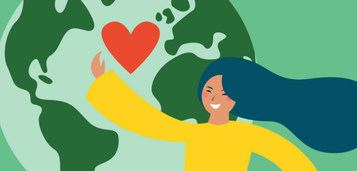 blue-haired girl standing in front of earth, raising arm to embrace a red heart