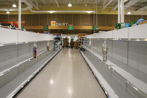 Empty toilet paper aisle at grocery store