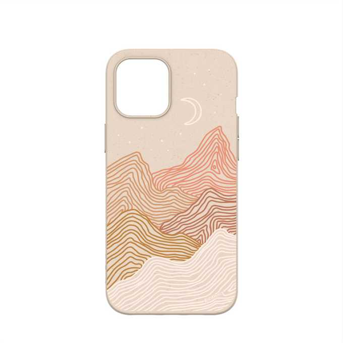 Sand colored iphone 12 case with mountain etched design and subtle rainbow in between the mountain peaks