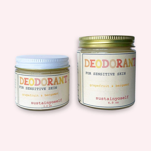 Two glass jars side by side. Both labeled deodorant for sensitive skin. One is a 6oz size and the other a 2 oz size