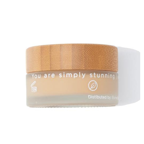Uplift Cream foundation in glass jar with bamboo lid. Label reads You are simply stunning.