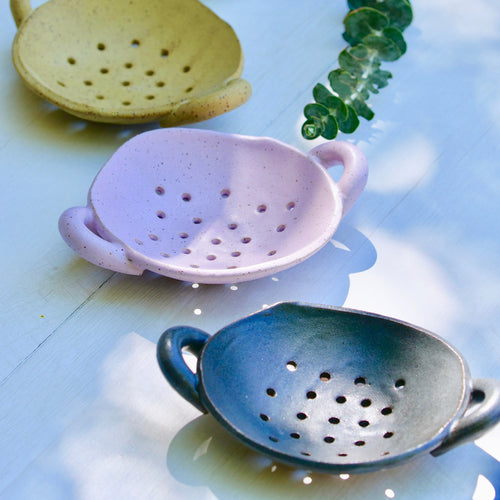 3 ceramic dish soap holders - mustard, lavender, and dark turquoise with small handles on each side