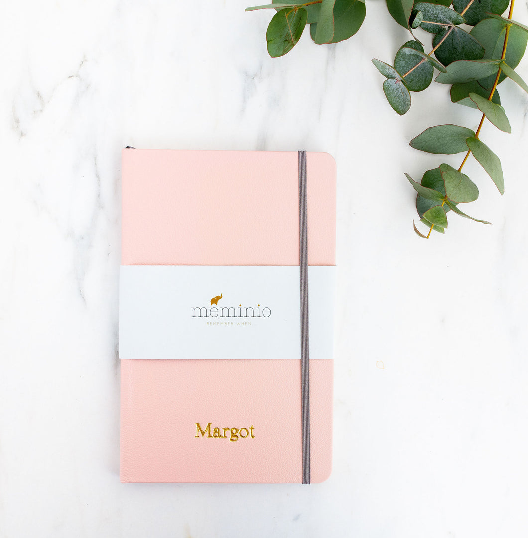 Leather notebook in pink | Meminio Memory Cases