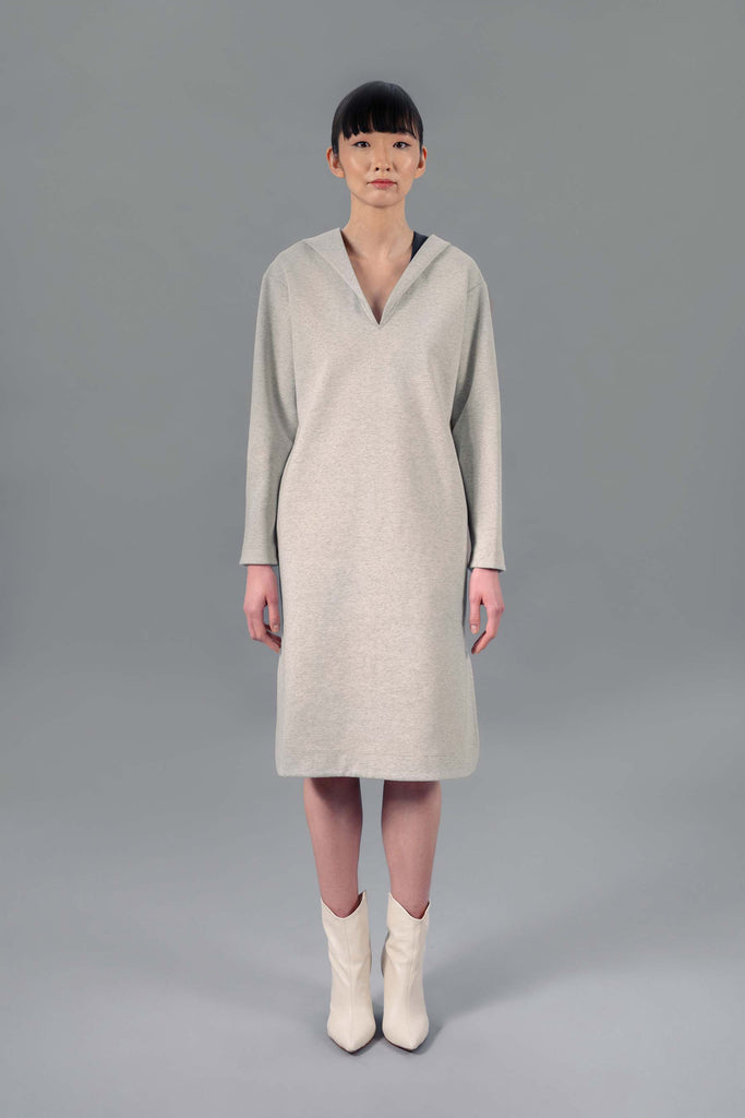 Nkosi Hooded Sheath Dress, Grey