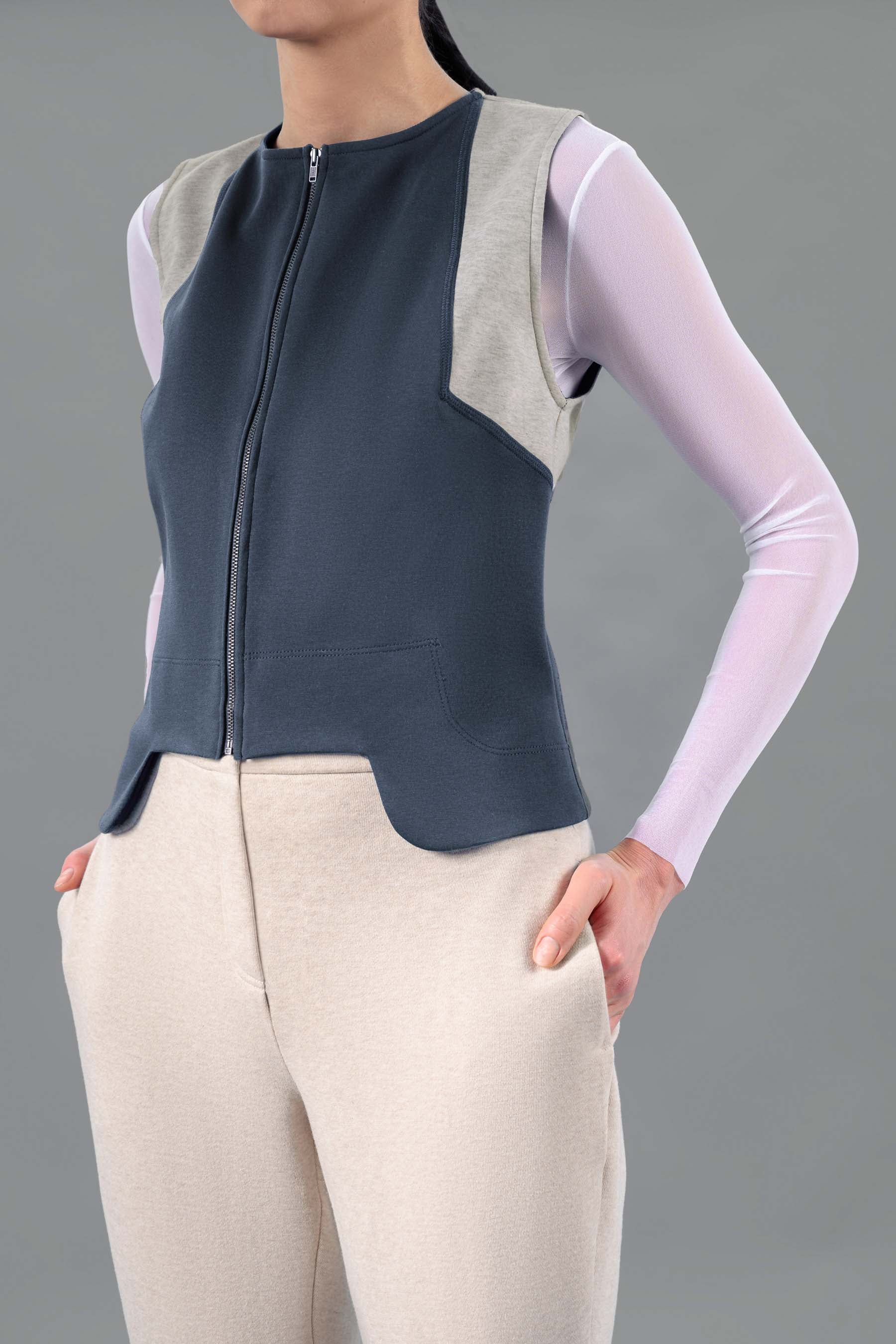 Tae Zip Front Colorblock Sleeveless Vest, Navy-Grey