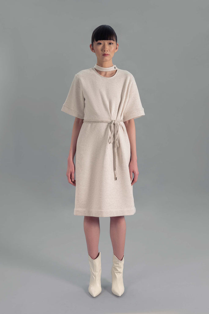 Vaughan Tab Collar Tie Waist Dress, Oatmeal