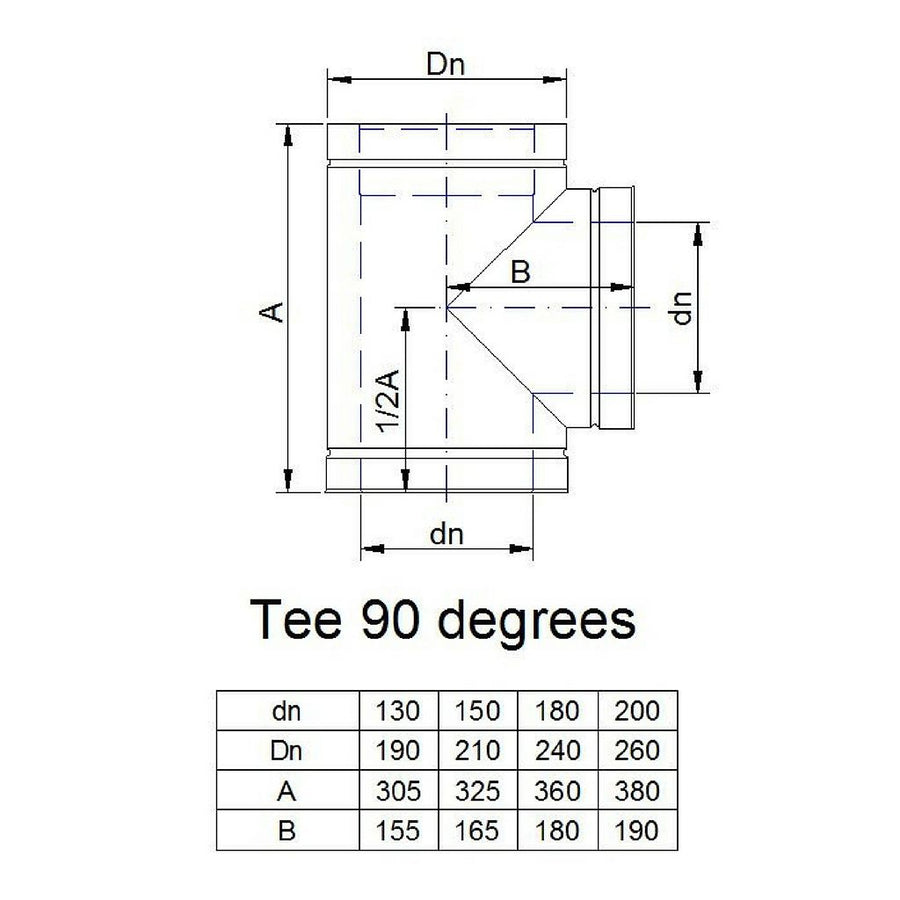 90 degree tee (requires soot collection door). Rarely ordered part.