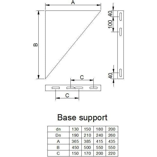 Base support unit adjustable with brackets (7-16cm from wall to pipe)