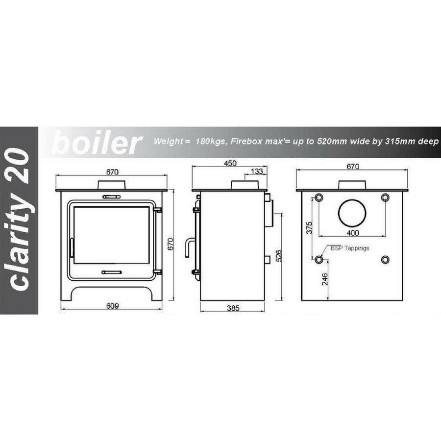 Ekol Clarity 20 Boiler (20kW+) Stove +FREE £425 FITTING MATERIALS or £435 LOGS DELIVERY - Stove Fitter's Warehouse - 1