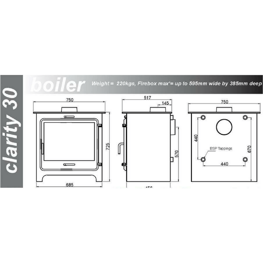 Ekol Clarity 30 SE Boiler (30kW+) Stove +FREE £500 FITTING MATERIALS OR £435 LOGS DELIVERY - Stove Fitter's Warehouse - 1